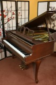 Art Case Knabe Baby Grand Piano, 1978 Excellent, Refinished Beautiful Chocolate Mahogany, Carved Legs $4500.