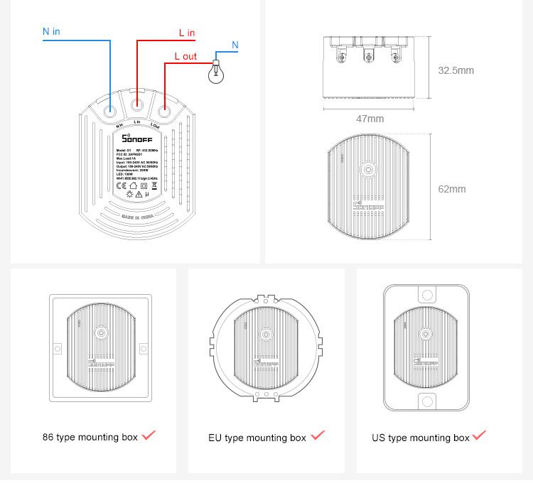Sonoff D1 wiring