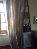 curtains and ladder