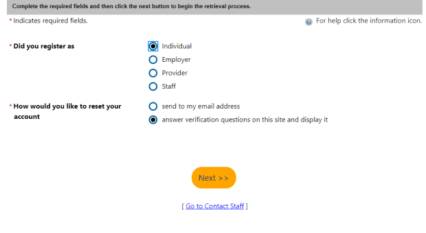 screenshot of CalJOBS page where you select the option of answer verification questions on this site and display it
