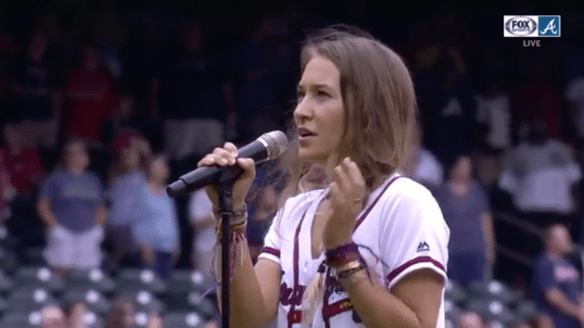 "Lauren Daigle Sings "" God Bless America "" At Atlanta Braves MLB Game"