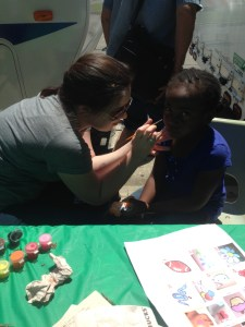 Face painting at the gardenfest.