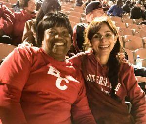 Sonya Christian with Elijah Ortiz' mom at Patriotic Bowl in Long Beach