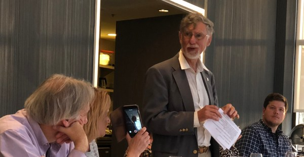 Ian Walton toasting Richard Mahon June 6 2018
