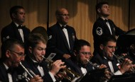 trumpet line with percussionists