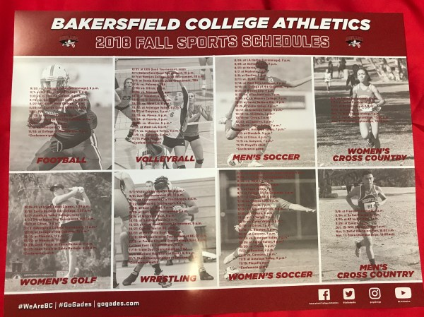 2018 Fall Athletics Schedules