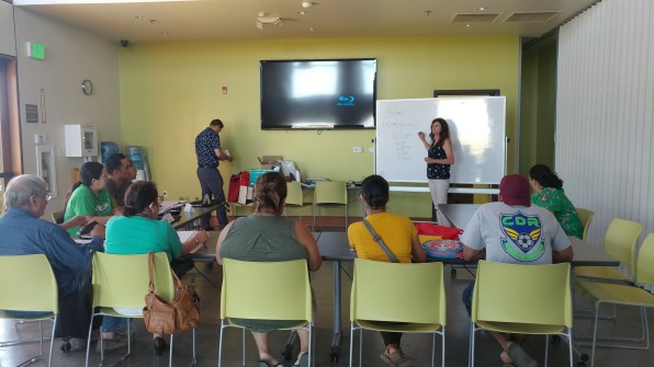 Academic Liaison talking to group of future renegades
