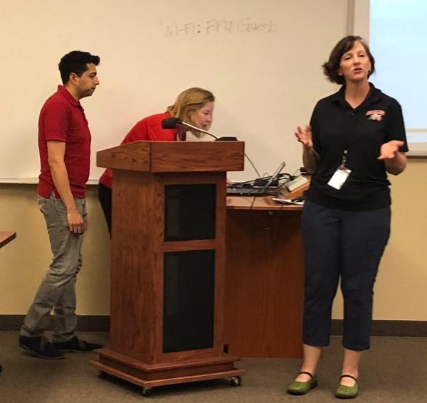 Chris Glaser, Saran Baron, Alicia Loken at College Council