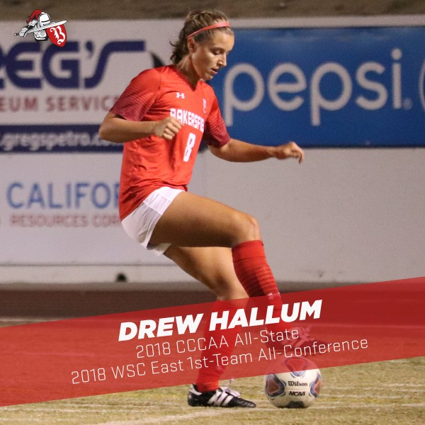 Drew Hallum balancing a soccer ball under her right foot
