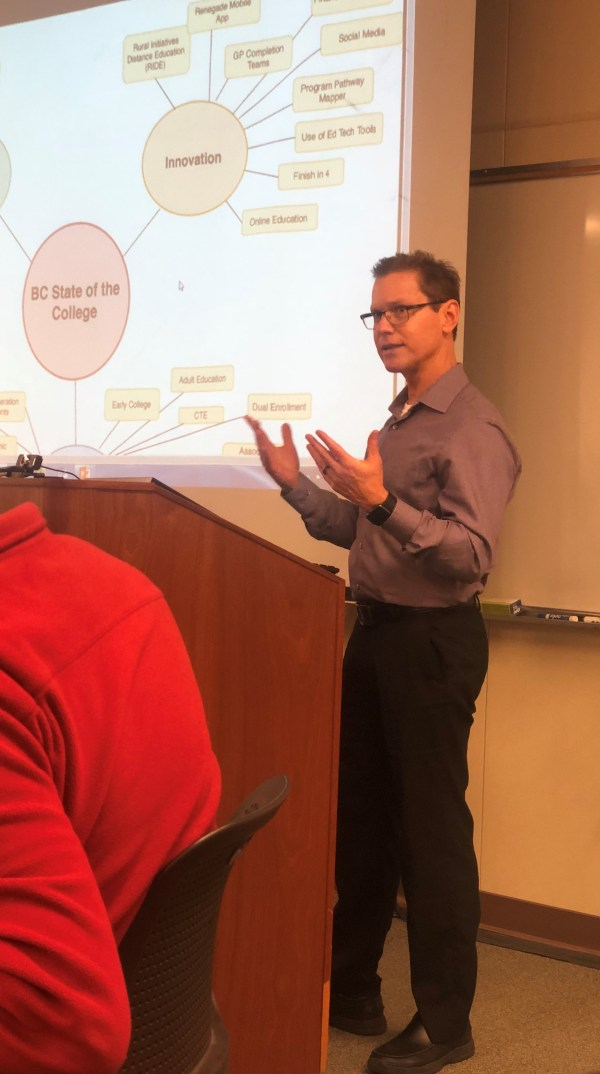 Dan Hall presenting at College Council