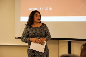 Norma Rojas Mora emceeing the community health care initiative Oct 31 2018