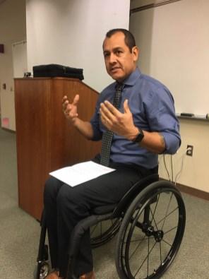 Mr. Oz Sanchez speaking in the Levan Center.