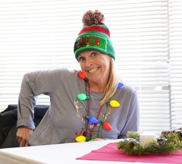 Woman wearing Christmas decor