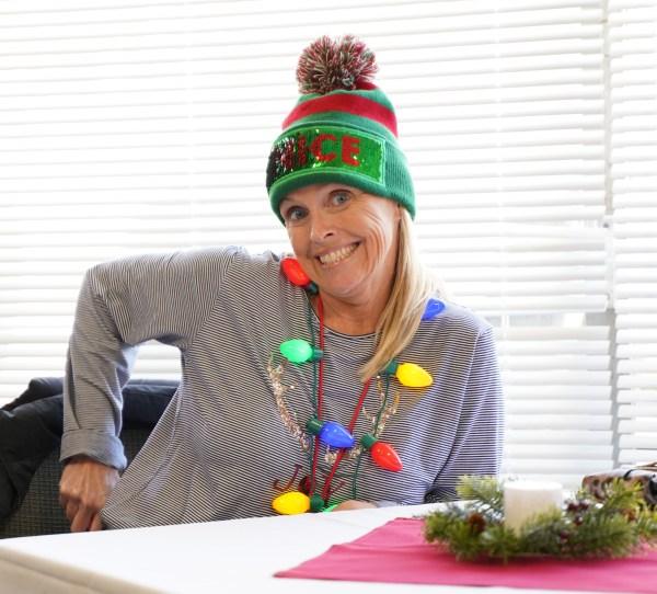 Woman wearing Christmas decor