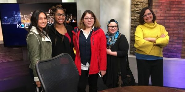 Students from Bakersfield College/Kern Sol News visit the KQED Public Radio newsroom in San Francisco. Photo: Kern Sol News.
