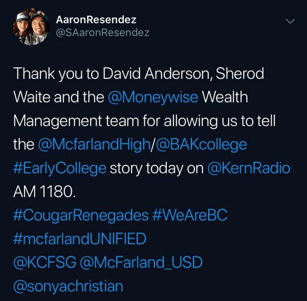 Aaron Resendez thanking everyone.