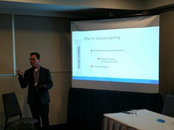 Man presenting Pillar IV: Ensure Learning.