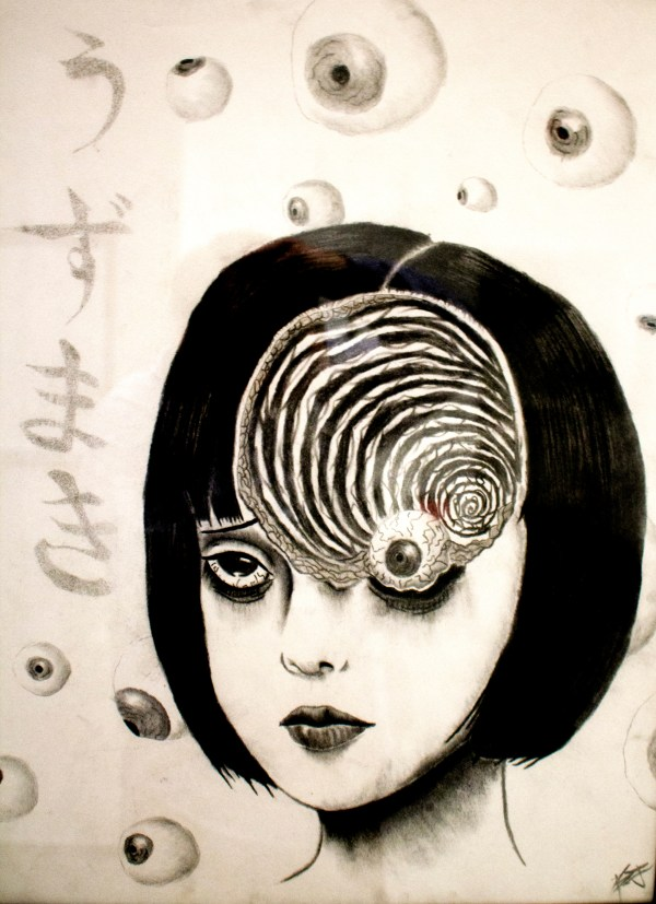 Black and white water color of woman with bloodshot eyes, whole in forehead and eyeballs in background.