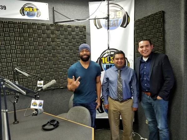 3 men in a radio studio.