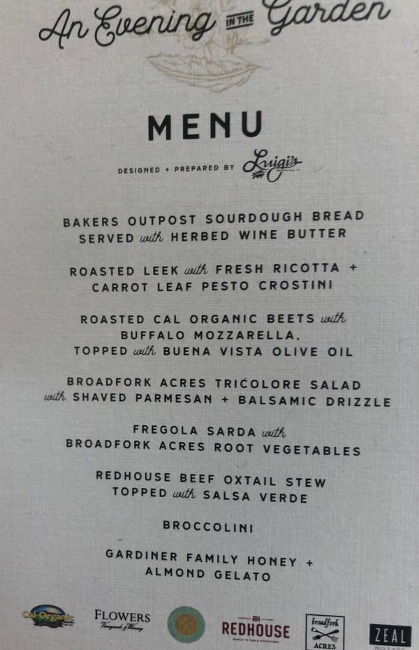Evening in the garden menu