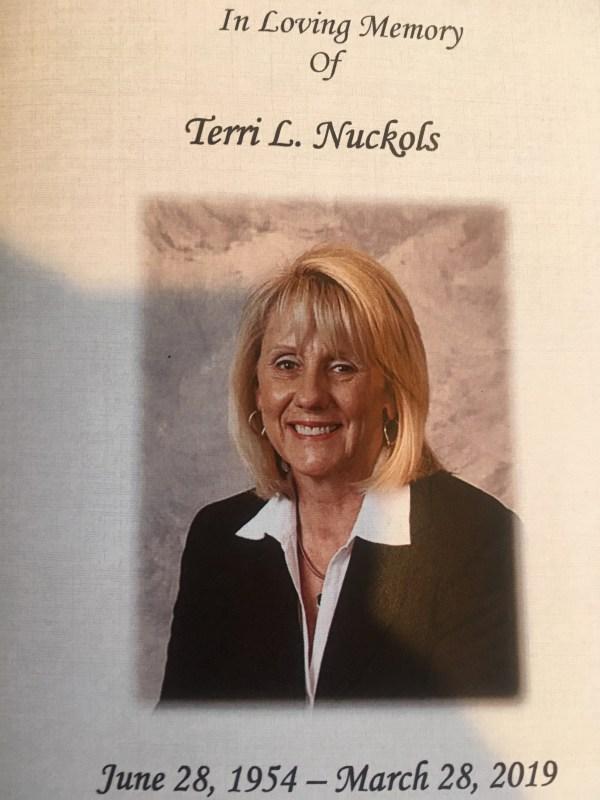 Terri L Nuckols funeral program cover