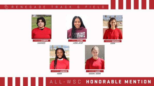 BC Renegade Track and Field Female All - WSC Honorable Mention portraits.