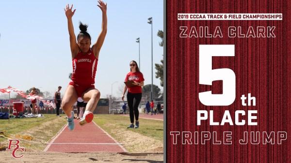 2019 CCCAA Track & Field Championships Zaila Clark 5th Place Triple Jump