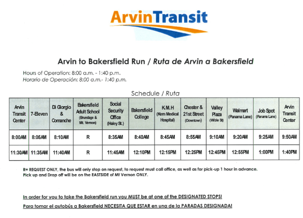 Arvin transit schedule showing inclusion of the Bakersfield College and Job Spot.
