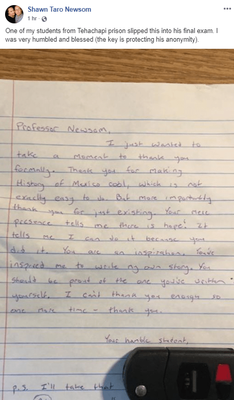 Shawn Newsom letter from prisoner