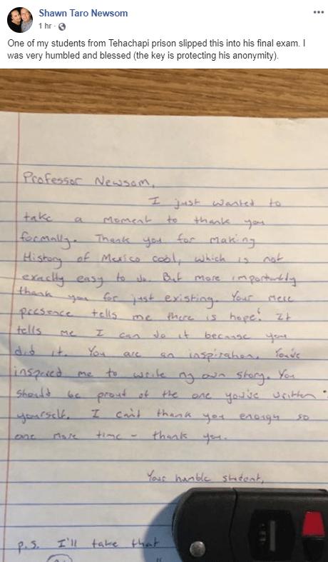 Shawn Newsom letter from prisoner