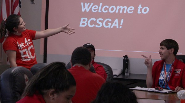 BCSGA President Samantha Pulido speaks to her Renegade constituents