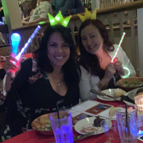 Lisa Robles and Endee Grijalva decked out with light-up swag