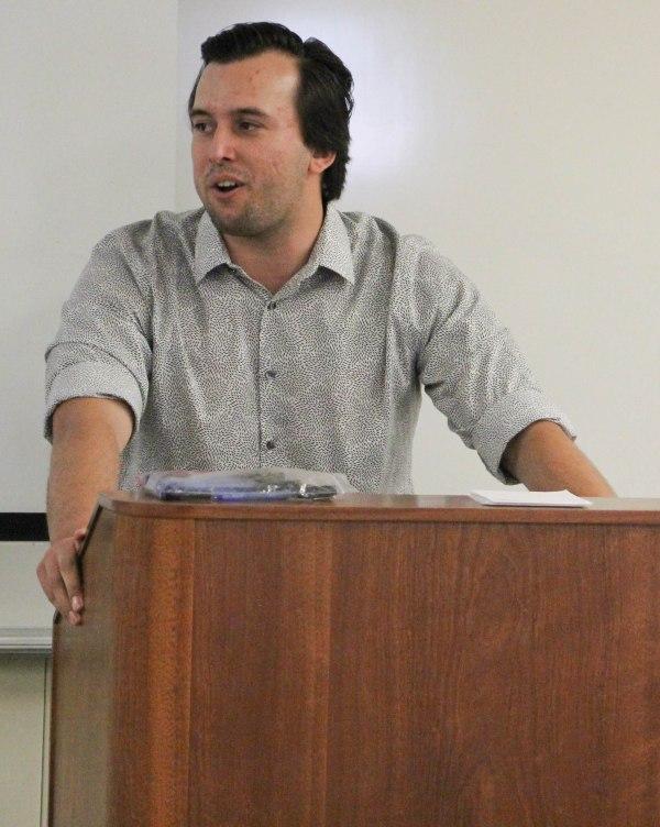 BCSGA student introducing the speaker.