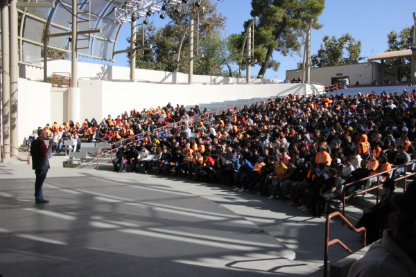 Audience in the Outdoor theater from the stage.