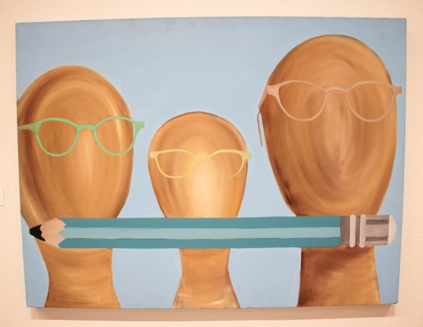 Painting of 3 faceless heads wearing glasses and a pencil.