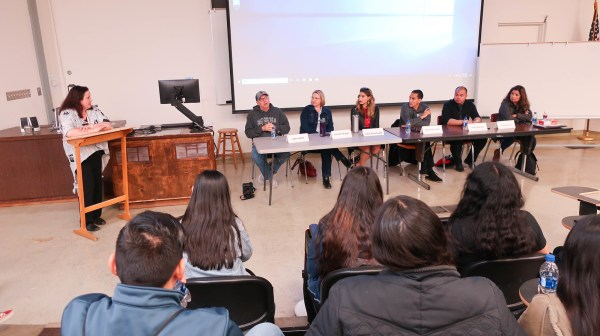 left to right: Erin Auerbach, John Harte, Jennifer Burger, Sara Shouhayib, Jorge Barrientos, Mark Nessia, and Olivia Garcia.