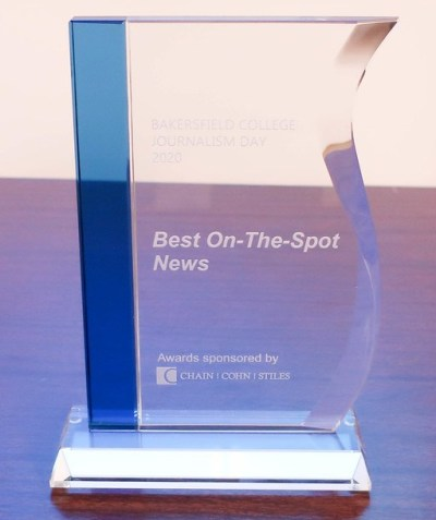 The On-The-Spot News Award for Bakersfield College Journalism Day.