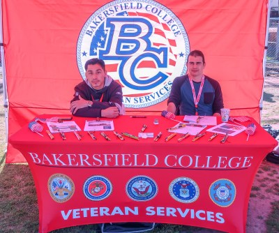 Bakersfield College Veterans Services tables at the Financial Aid Fest.