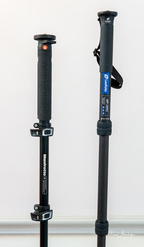 Leofoto MP285C comparison with Manfrotto Monopode MVMXPROC5-3