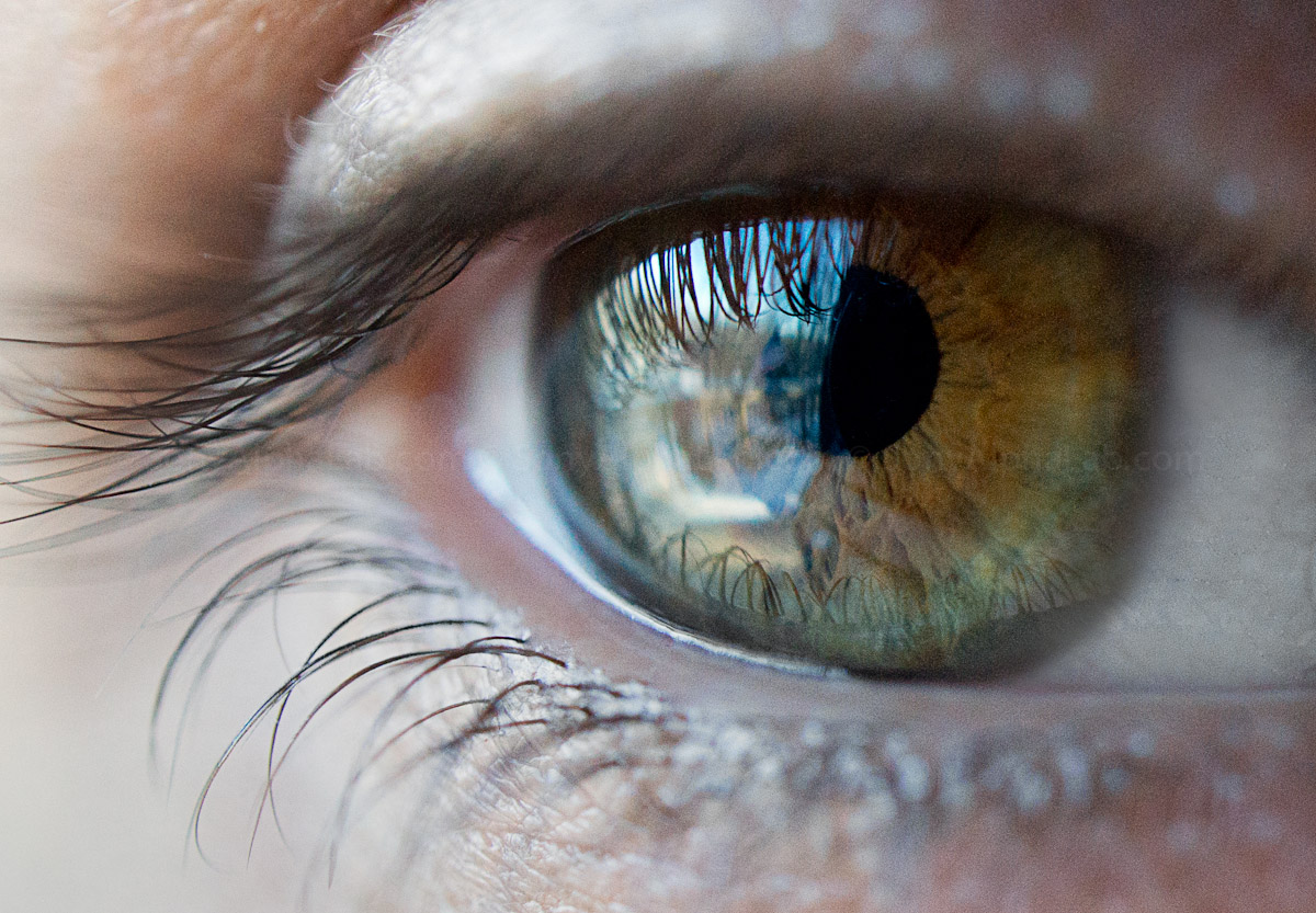My Wife Michele's Eye - Nex-7 @ 30mm Macro lens @ f/4, 1/250sec,, ISO 1600, Handheld, Slight adjustments in made Lightroom