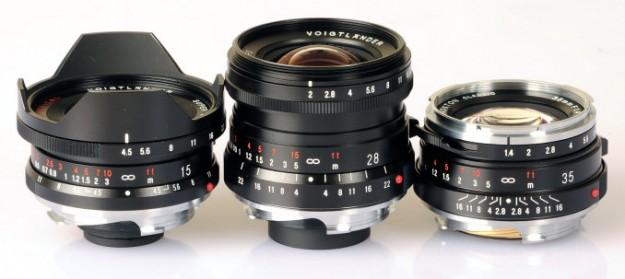 Voigtlander 15/4.5 VM Super Wide Heliar, Voigtlander 28/2 Ultron, Voigtlander 35/1.4 Nokton