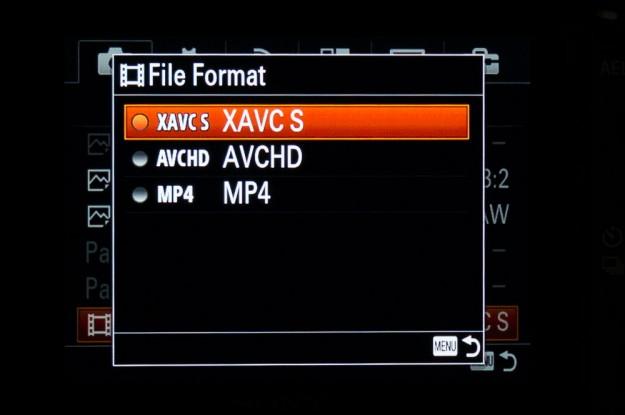 Sony A7s Menu - File Format