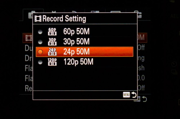 Sony A7s Menu - Record Settings