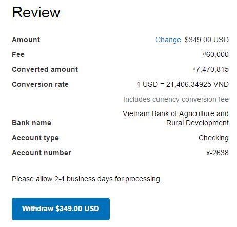Cách kiểm tra tỉ giá trên PayPal VND/USD - Cách 2- Bước 3.2