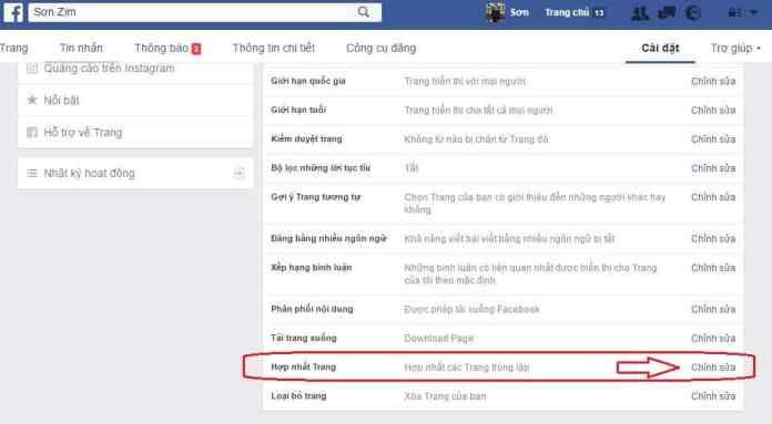 huong dan gop 2 trang fanpage facebook thanh 1 trang - Anh 2