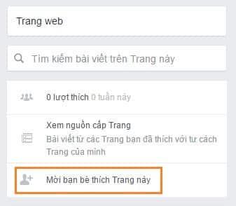 Mời bạn bè like facepage