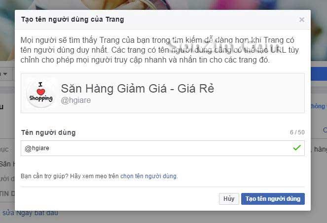 Cách thay đổi đường link FanPage Facebook - bước 2
