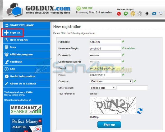 Cách mua bán Bitcoin bằng Payza trên Goldux - 1