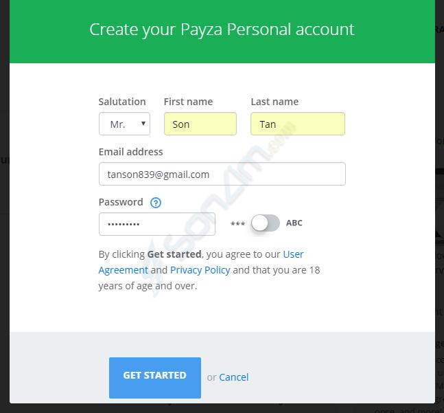 Hướng dẫn đăng ký tài khoản Payza - 2