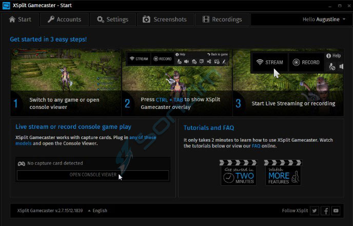 XSplit GameCaster - Top 5 phần mềm chụp và quay video màn hình tốt nhất